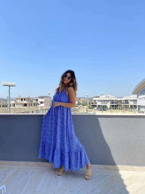 Mavi puanli Viskon elbise