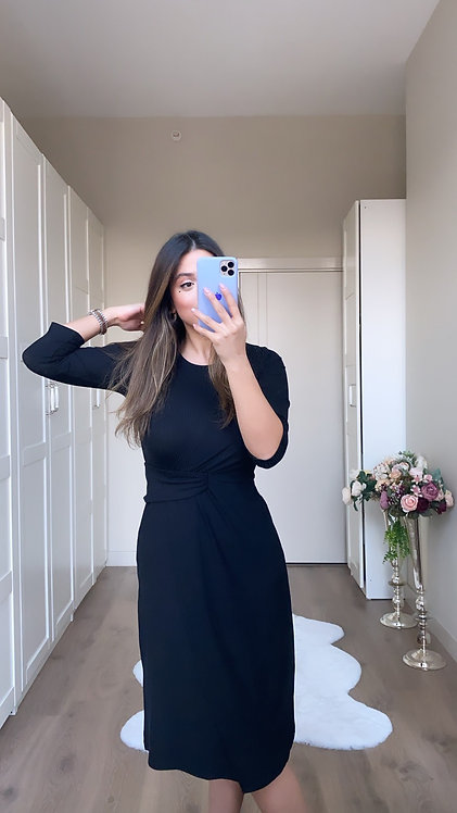 Siyah Kaskorse bel Detayli Elbise
