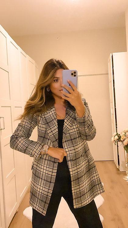 Grili Cizgili Kase Blazer Ceket