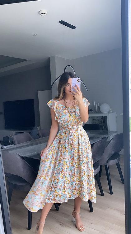 Cok renkli cicekli tiril Elbise