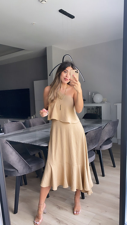 Camel keten Tek omuz elbise