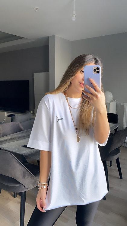 Beyaz Duble Kol Puma Tshirt