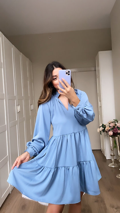 Bebe Mavi Krep Kumas Elbise