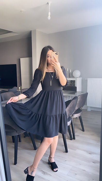 Siyah Aerobin Tiril Kare yaka elbise