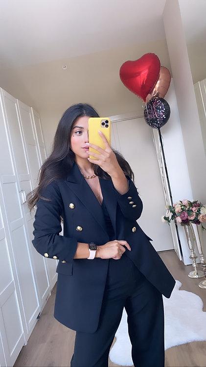 Siyah Gold Dugme Ceket