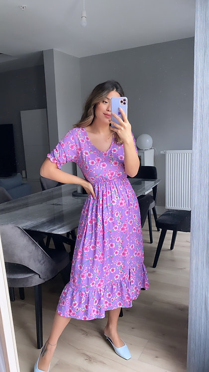 Lila Cicekli Elbise