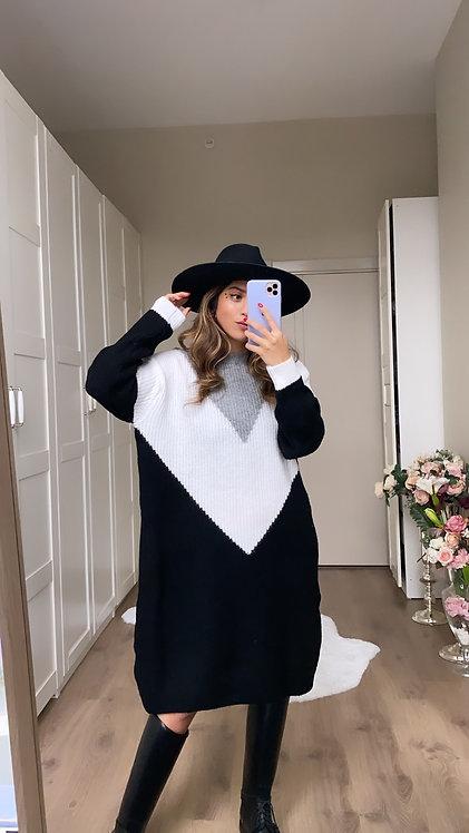 Gri beyaz siyah Triko Elbise