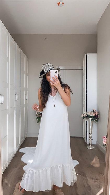 Krem Alti Tul Detayli Elbise
