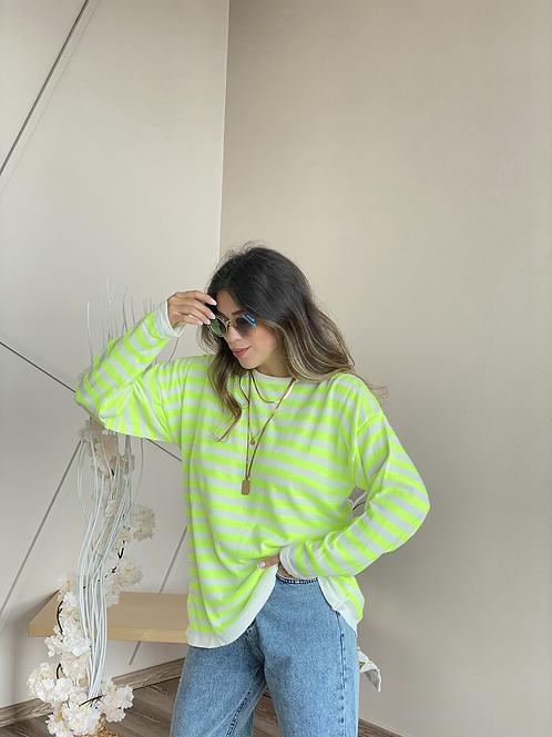Neon cizgili salas triko