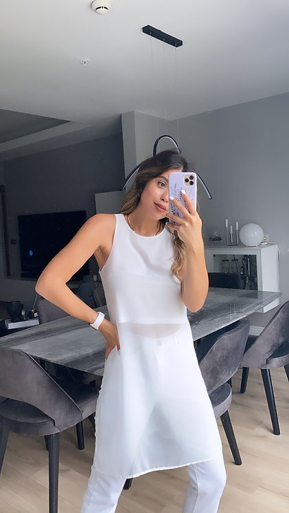 Beyaz Sifon Bluz