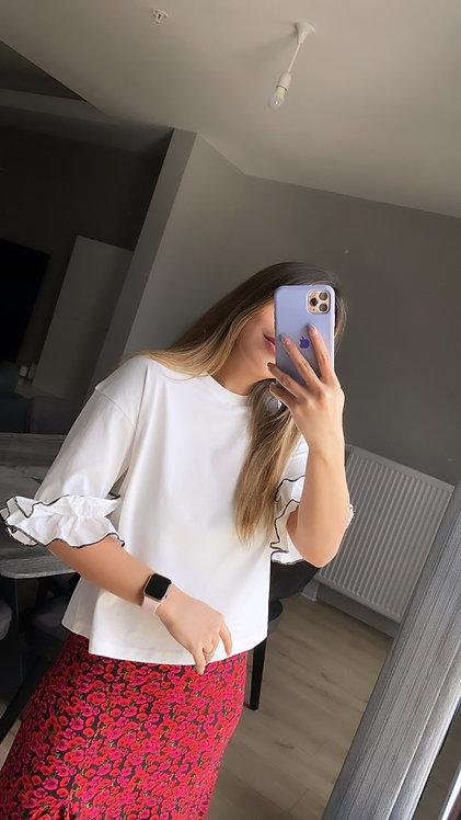 Kollari Firfirli  beyaz tasarim Tshirt