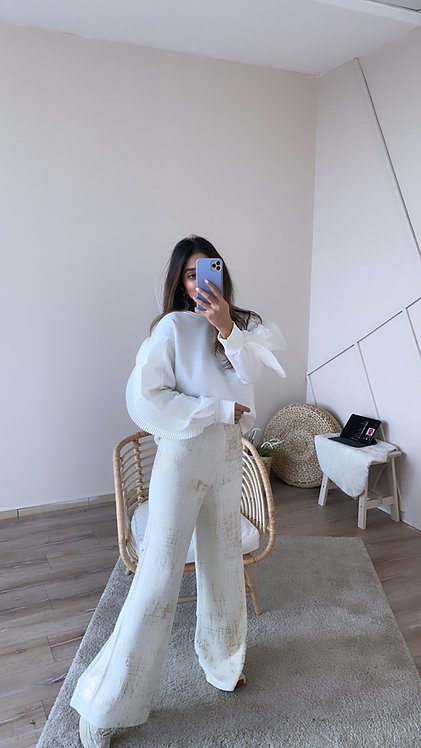 Beyaz Varakli Triko Pantolon