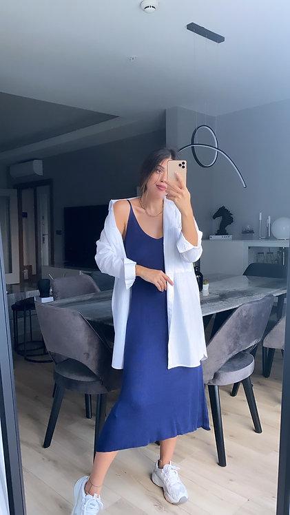 Lacivert basic triko elbise