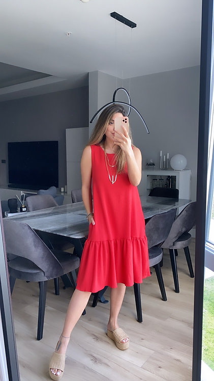 Kirmizi basic Cepli Elbise
