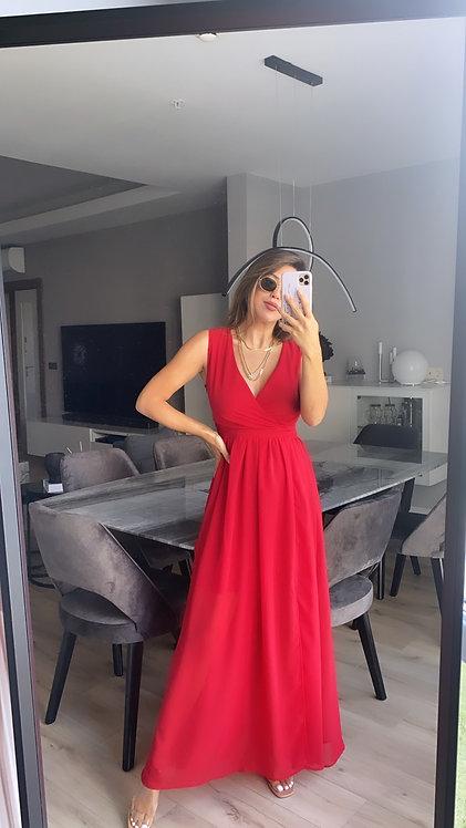 Kirmizi krep sifon yirtmac detayli ozel elbise