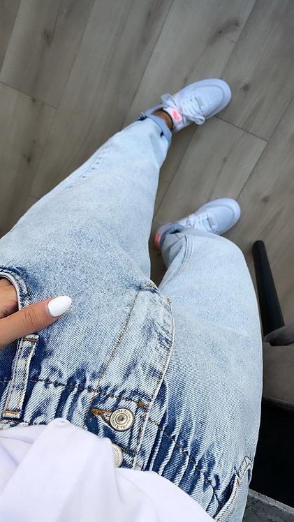 Lastikli buz mavi mom jean