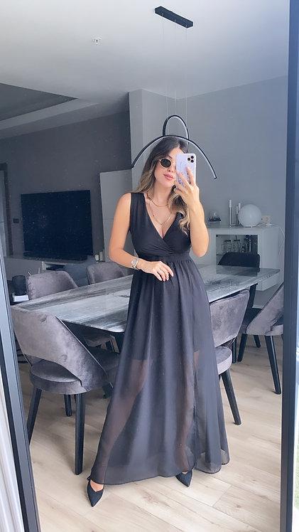 Siyah krep sifon yirtmac detayli ozel elbise