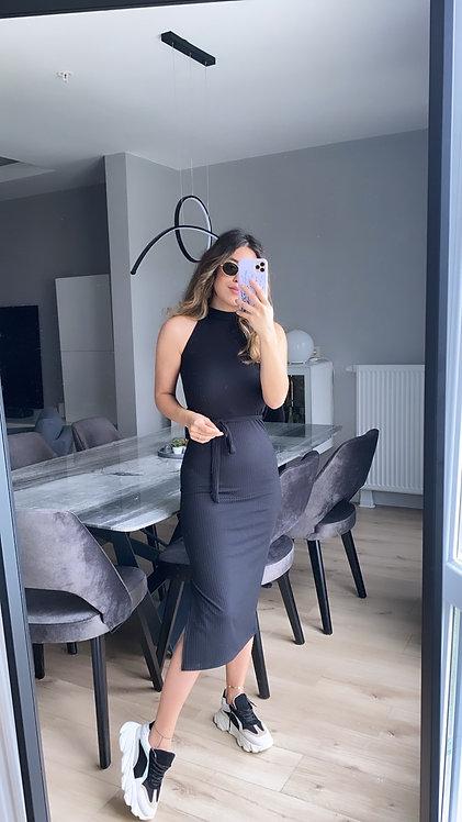 Siyah kaskorse halter yaka elbise