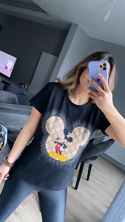 Siyah mickey Tasli Tshirt