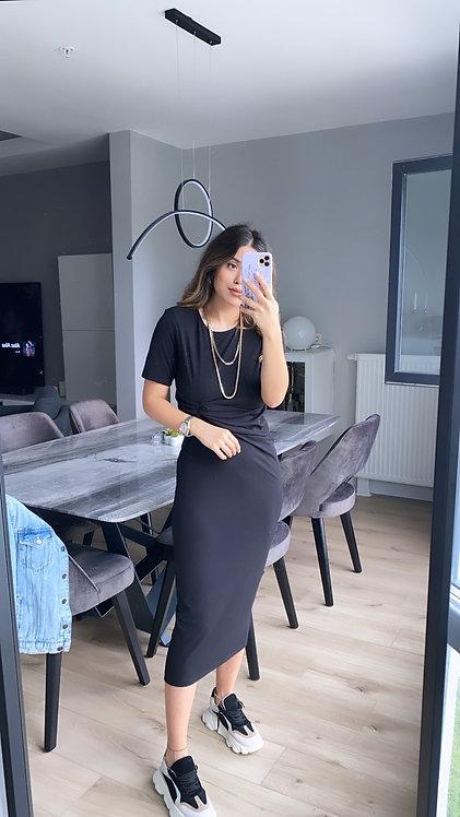 Siyah Dugumlu Kaskorse elbise