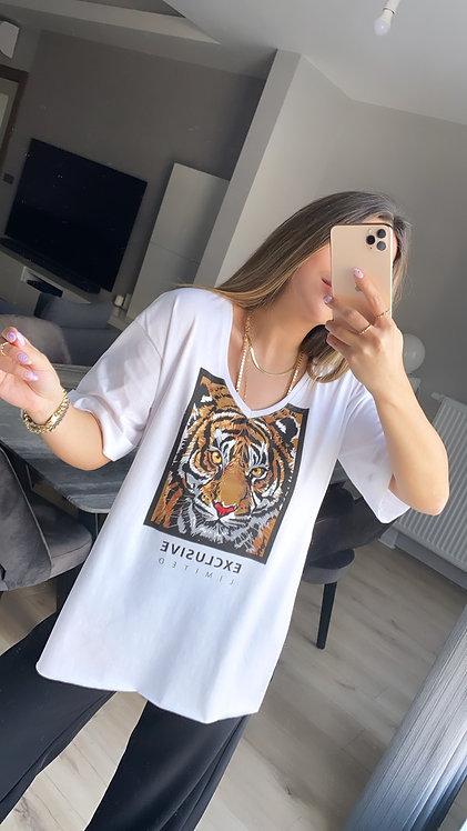 Beyaz Kaplanli V yaka Tshirt