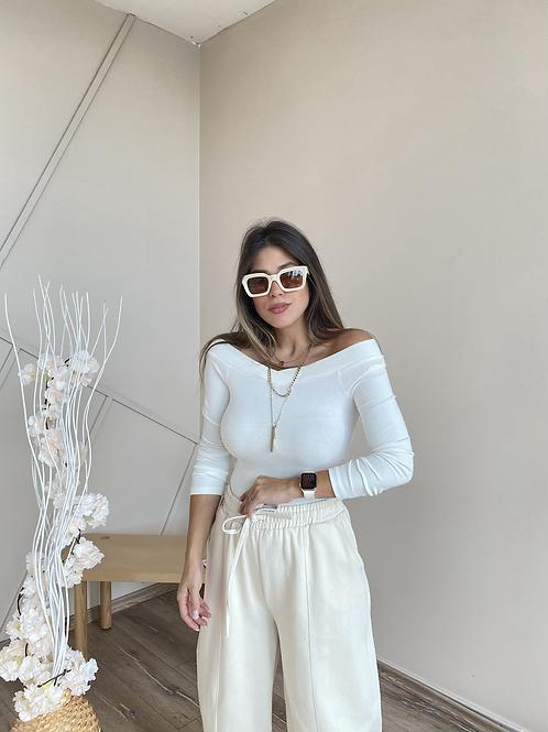 Beyaz kayik yaka fitilli bluz