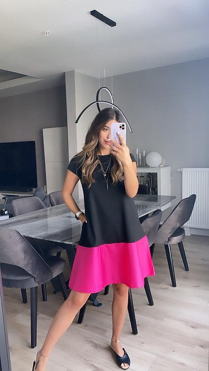 Siyah alti fusya poplin Elbise