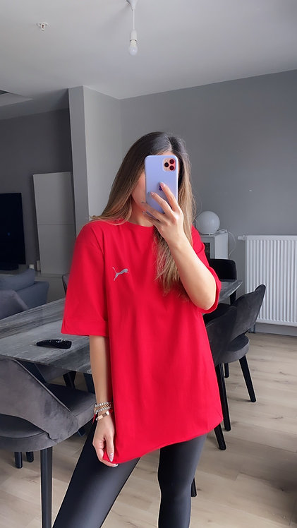 Kirmizi Duble Kol Puma Tshirt