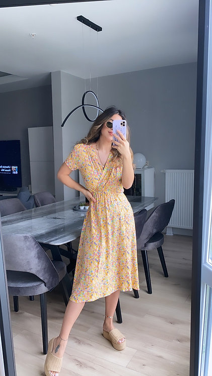 Sari cicekli Kruvaze elbise