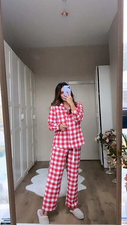 Kirmizi kareli Yun pijama