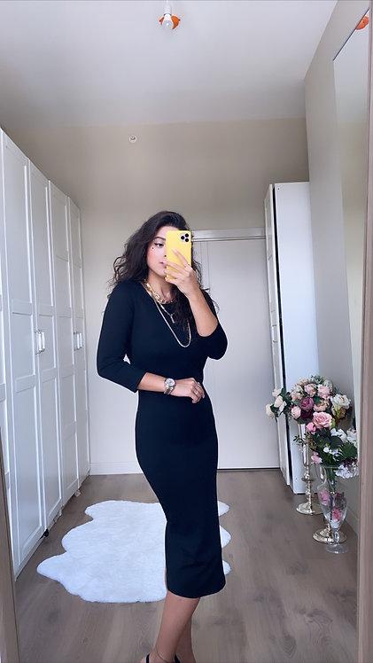 Siyah Basic Celik Elbise