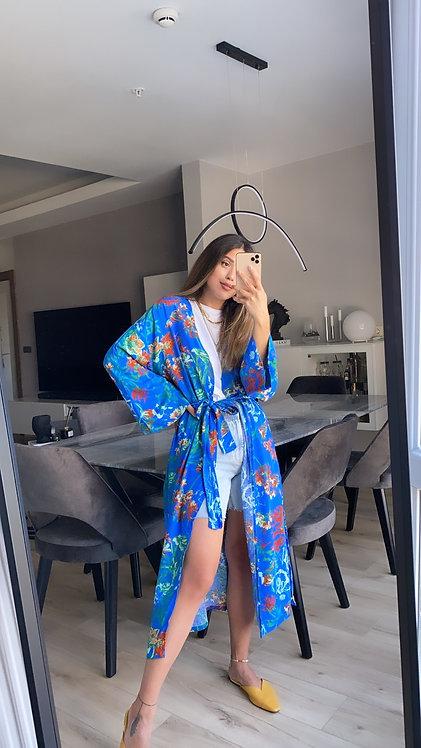 Mavi desenli kimono