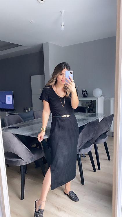 Siyah Kisa Kollu Triko Elbise