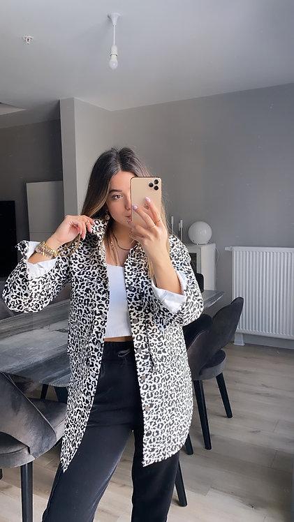 Siyah beyaz Leoparli Ceket
