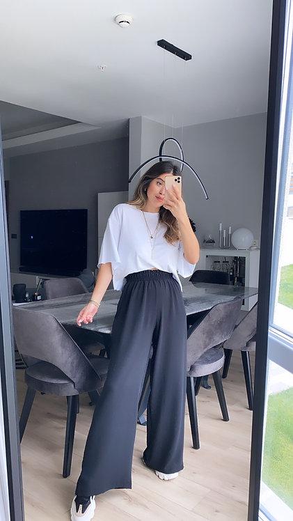 Siyah Tiril Bol Pantolon