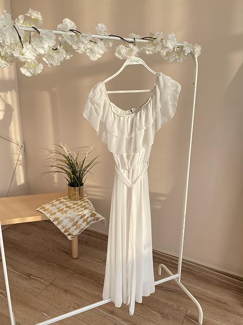 Beyaz madonna kat kat sifon elbise