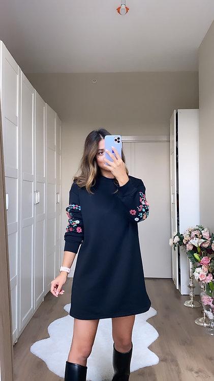 Kollari Cicek Baskili Orjinal Sweat Elbise/Tunik