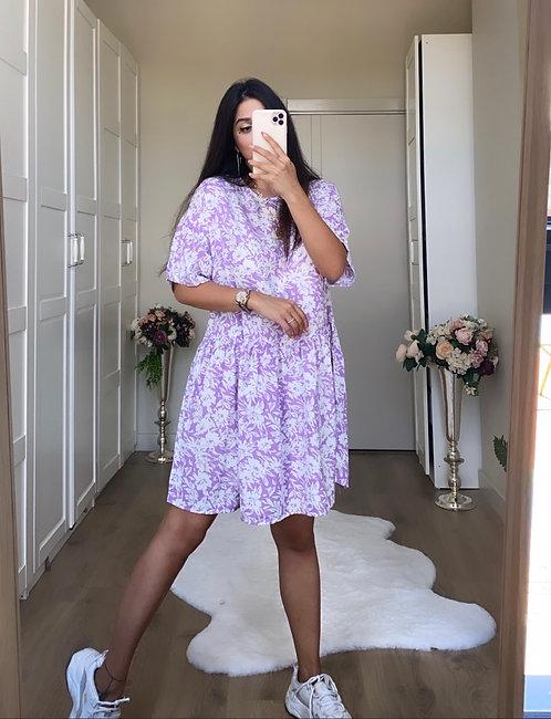 Lila Desenli Elbise