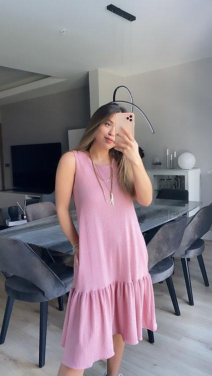 Pembe basic Cepli Elbise