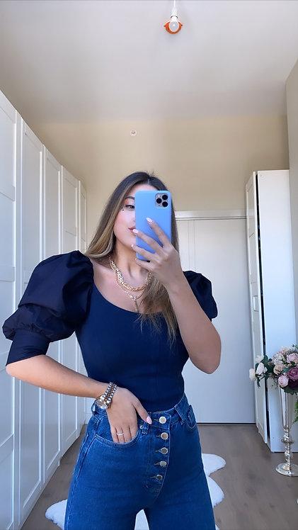 Lacivert Triko Ve poplin Detayli Bluz