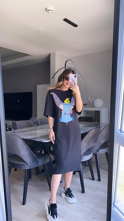 Payetli Filli Siyah Elbise