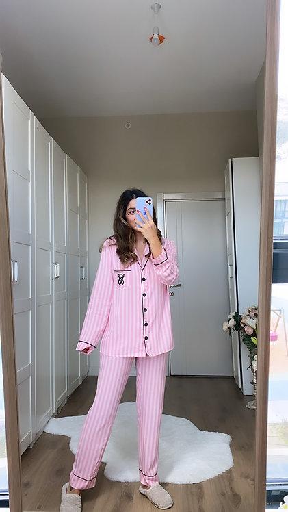 Pembe cizgili Pijama Takimi