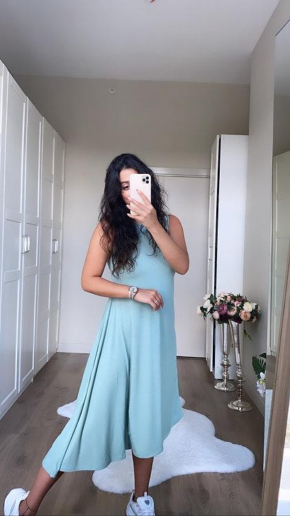 Mint Asimetrik Kaskorse Elbise