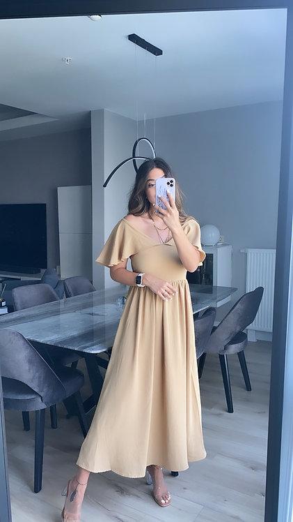 Sutlu kahve Krep Sifon Ozel elbise