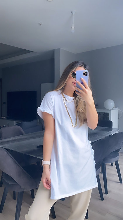 Beyaz Firfirli Tunik Tshirt