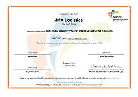 JMA Logistics NMSDC 2018-2019 Certificat