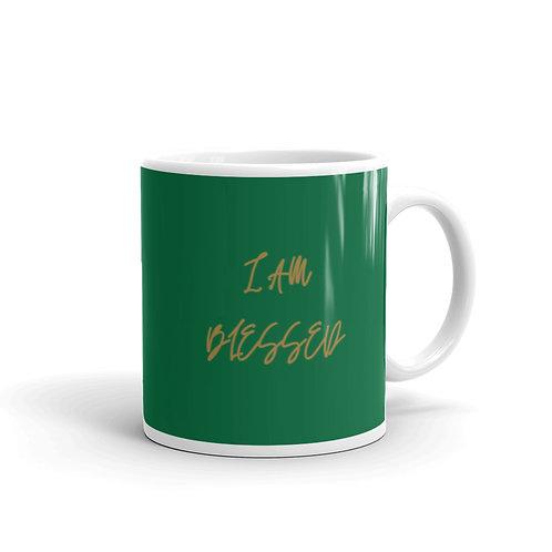 I AM BLEESED gold print Mug