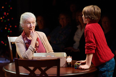 Katharine (Darrie Lawrence) meets my son, Bud (Simon Desilets) for the first time.