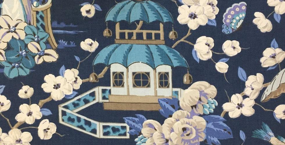 Navy Blue Chinoiserie Pagoda
