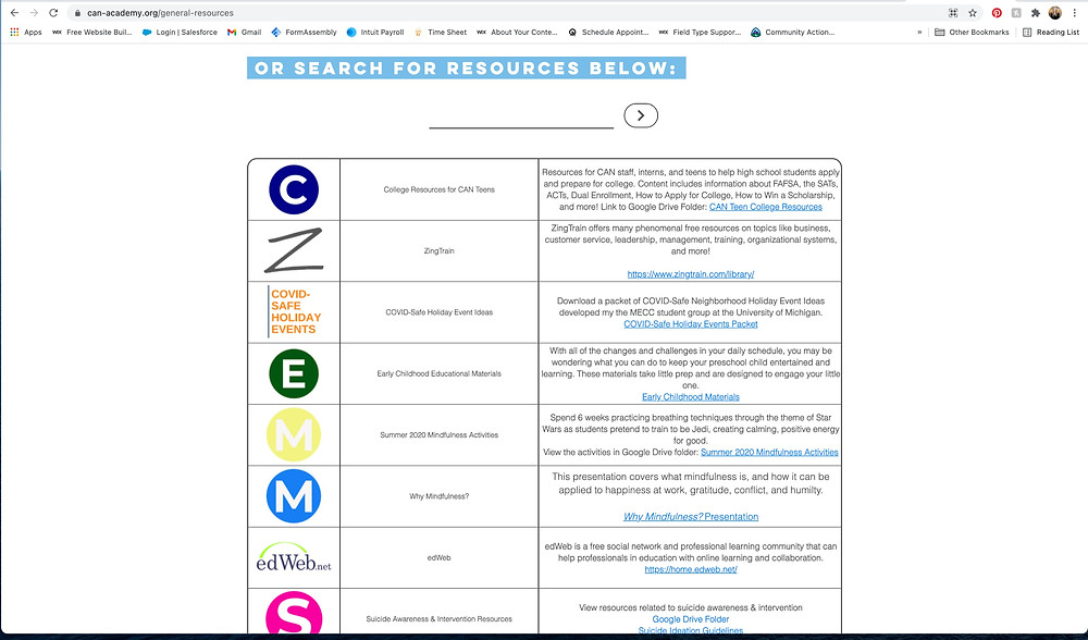 CAN Academy General Resource Page